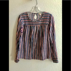 "Layla red and blue ""smocked"" striped dress shirt"